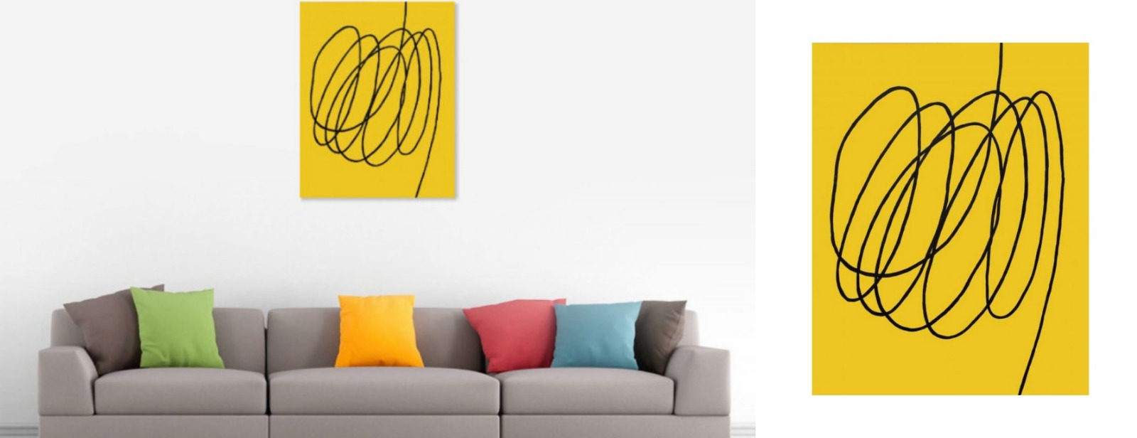 Yellow abstract art geometry