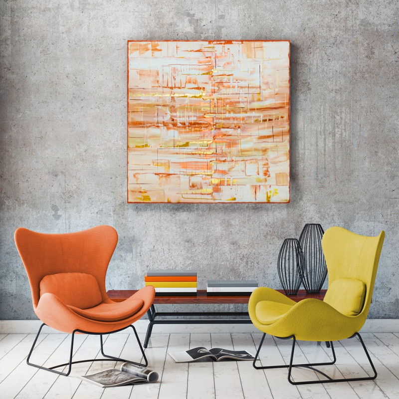 gold abstract painting modern interior