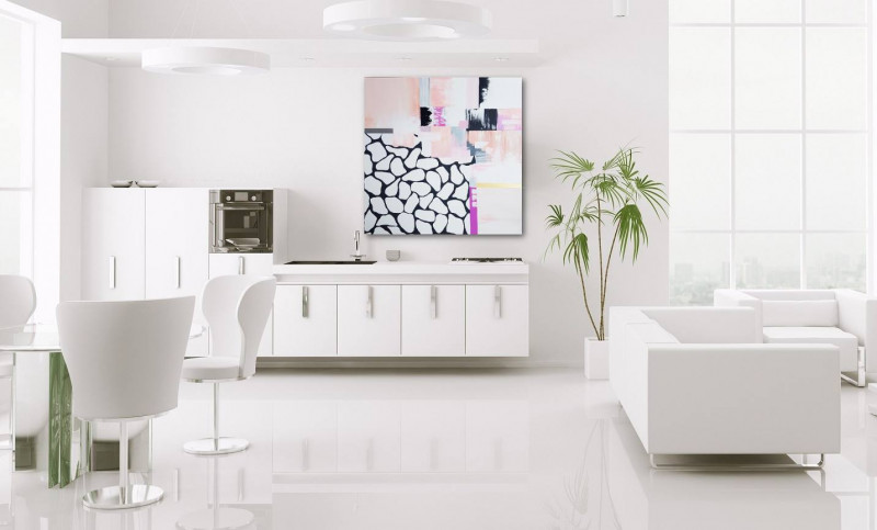 abstract pink painting modern interior kitchen