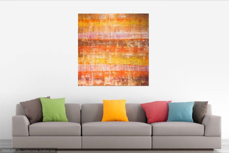 warm yellow abstract painting eclectic interior