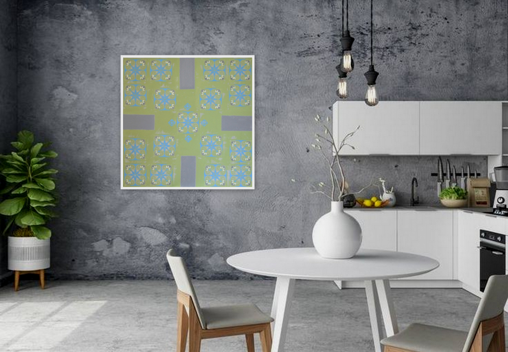 green geometric abstract painting bohemian interior