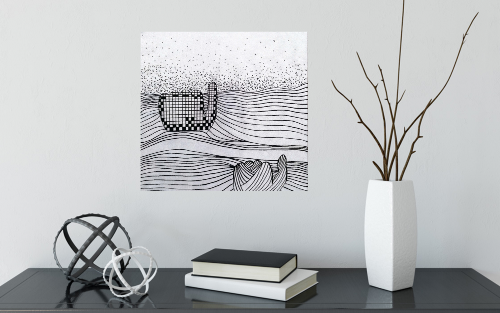 summer wave black white painting