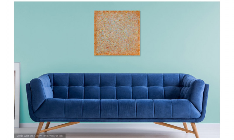 brown orange abstract painting blue interior
