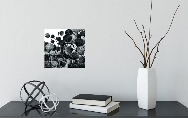 nature plants drawing black white