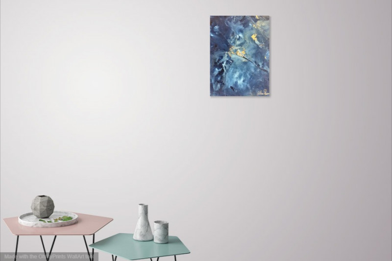 butterfly abstract painting blue