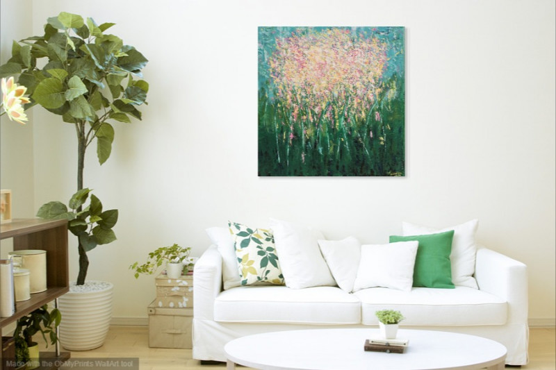 spring flower abstract painting farmhouse interior