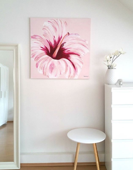 pink flower painting modern farmhouse interior