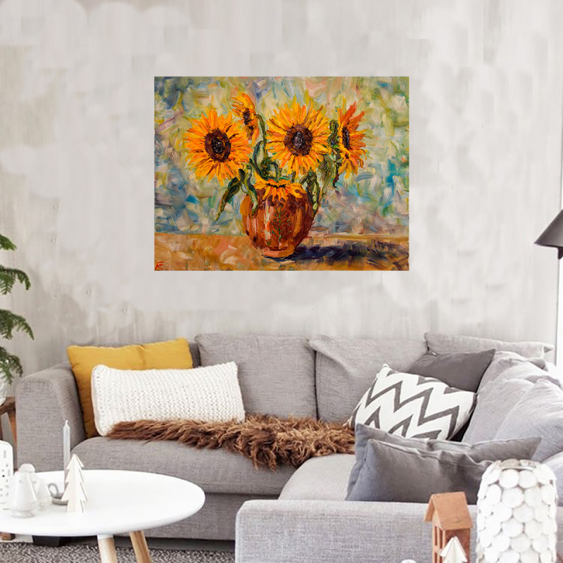 sunflowers realism painting farmhouse interior