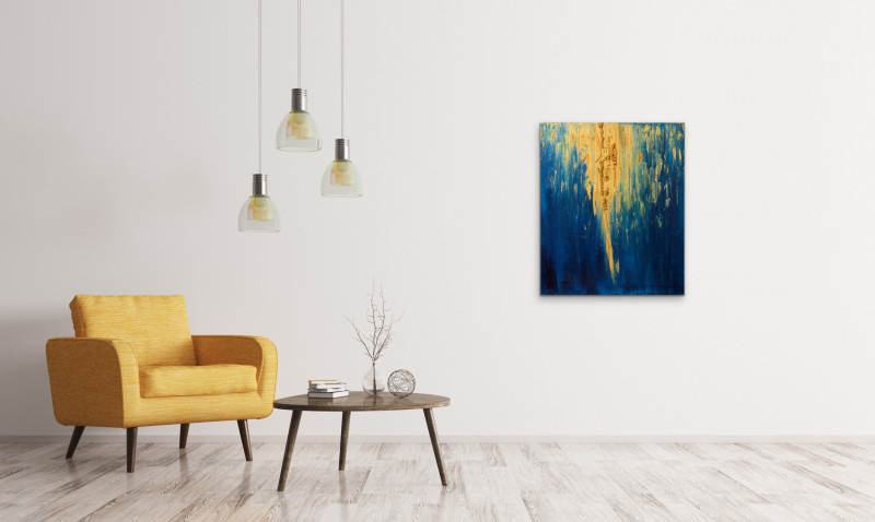 blue yellow abstract modern painting