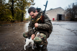 Friends in the war-zone (Donbas, Ukraine)